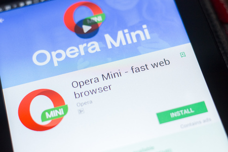 Ryazan, Russia - April 19, 2018 - Opera Mini - fast web browser mobile app on the display of tablet PC Publikacyjne