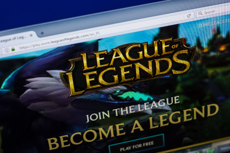 Ryazan, Russia - April 29, 2018: Homepage of Leagueoflegends website on the display of PC, url - Leagueoflegends.com.