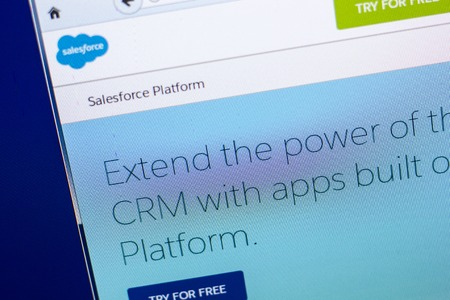 Ryazan, Russia - April 29, 2018: Homepage of Salesforce website on the display of PC, url - Salesforce.com Editorial