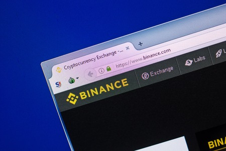 Ryazan, Russia - April 29, 2018: Homepage of Binance website on the display of PC, url - Binance.com Editorial