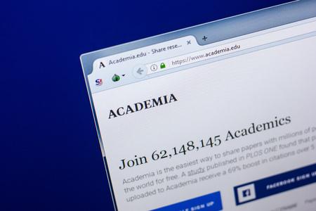 Ryazan, Russia - April 29, 2018: Homepage of Academia website on the display of PC, url - academia.edu