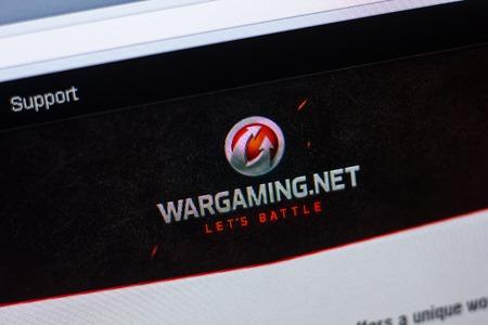 Ryazan, Russia - April 29, 2018: Homepage of Wargaming website on the display of PC, url - Wargaming.net.