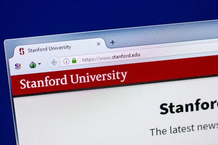 Ryazan, Russia - April 29, 2018: Homepage of Stanford University website on the display of PC, url - Stanford.edu.
