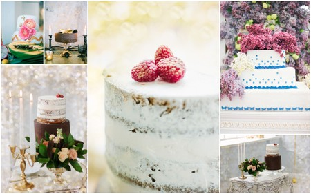 Collage of unusual and beautiful wedding cakes