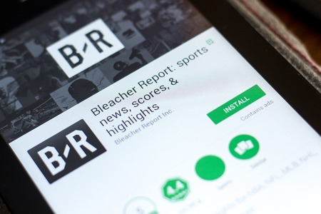 Ryazan, Russia - May 02, 2018: Bleacher Report mobile app on the display of tablet PC