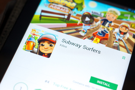 Ryazan, Russia - May 03, 2018: Subway Surfers mobile app on the display of tablet PC 報道画像
