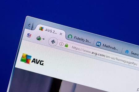 Ryazan, Russia - May 08, 2018: AVG website on the display of PC, url - AVG.com
