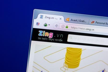 Ryazan, Russia - May 08, 2018: Zing website on the display of PC, url - Zing.vn Redactioneel