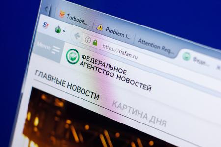Ryazan, Russia - May 08, 2018: Riafan website on the display of PC, url - Riafan.ru
