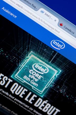 Ryazan, Russia - May 08, 2018: Intel website on the display of PC, url - Intel.fr