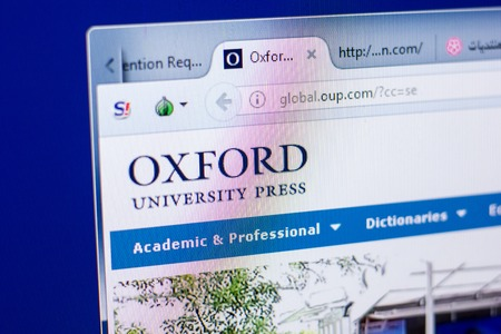 Ryazan, Russia - May 08, 2018: OUP website on the display of PC, url - OUP.com