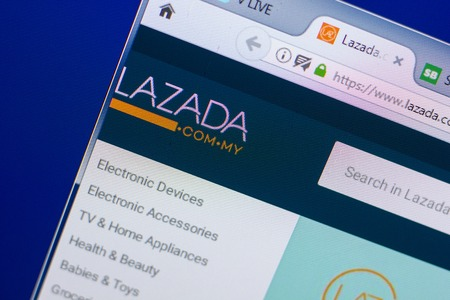 Ryazan, Russia - May 13, 2018: Lazada website on the display of PC, url - Lazada.com.my