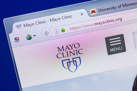 Ryazan, Russia - May 13, 2018: Mayo Clinic website on the display of PC, url - MayoClinic.org Editorial
