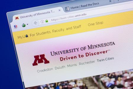 Ryazan, Russia - May 13, 2018: University of Minnesota website on the display of PC, url - UMN.edu