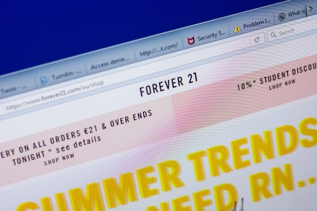 Ryazan, Russia - May 20, 2018: Homepage of Forever21 website on the display of PC, url - Forever21.com Editoriali