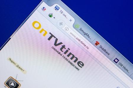 Ryazan, Russia - May 20, 2018: Homepage of OnTVtime website on the display of PC, url - OnTVtime.ru