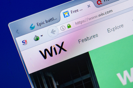 Ryazan, Russia - May 20, 2018: Homepage of Wix website on the display of PC, url - Wix.com
