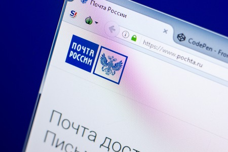 Ryazan, Russia - May 27, 2018: Homepage of Pochta website on the display of PC, url - Pochta.ru