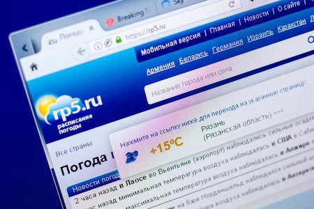 Ryazan, Russia - May 27, 2018: Homepage of Rp5 website on the display of PC, url - Rp5.ru Editorial