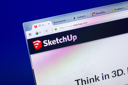 Ryazan, Russia - May 27, 2018: Homepage of SketchUp website on the display of PC, url - SketchUp.com