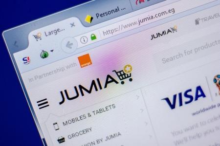 Ryazan, Russia - June 05, 2018: Homepage of Jumia website on the display of PC, url - Jumia.com.eg