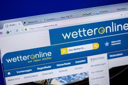 Ryazan, Russia - June 05, 2018: Homepage of WetterOnline website on the display of PC, url - WetterOnline.de Standard-Bild - 110495064