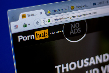 Ryazan, Russia - June 05, 2018: Homepage of PornHubPremium website on the display of PC, url - PornHubPremium.com