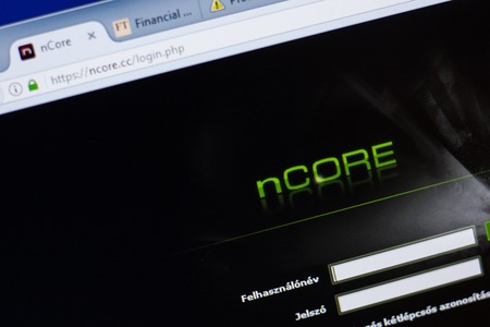Ryazan, Russia - June 16, 2018: Homepage of nCore website on the display of PC, url - nCore.cc