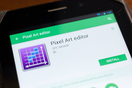 Ryazan Russia June 24 2018 Pixel Art Editor Mobile App On The Display Of Tablet Pc