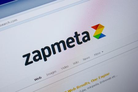Ryazan, Russia - June 26, 2018: Homepage of ZapmetaSearch website on the display of PC. URL - ZapmetaSearch.com