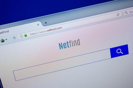 Ryazan, Russia - June 26, 2018: Homepage of Netfind website on the display of PC. URL - Netfind.com