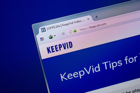 Ryazan, Russia - June 26, 2018: Homepage of KeepVid website on the display of PC. URL - KeepVid.com