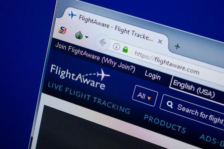 Ryazan, Russia - June 26, 2018: Homepage of FlightAware website on the display of PC. URL - FlightAware.com 新聞圖片