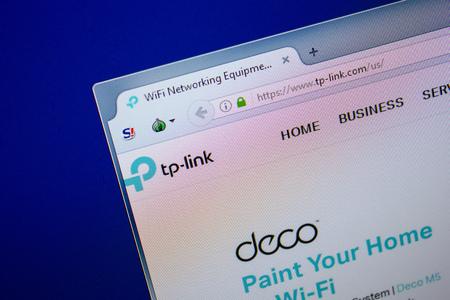 Ryazan, Russia - June 26, 2018: Homepage of TP-link website on the display of PC. URL - TP-link.com