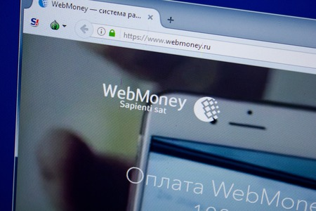 Ryazan, Russia - June 26, 2018: Homepage of Webmoney website on the display of PC. URL - Webmoney.ru