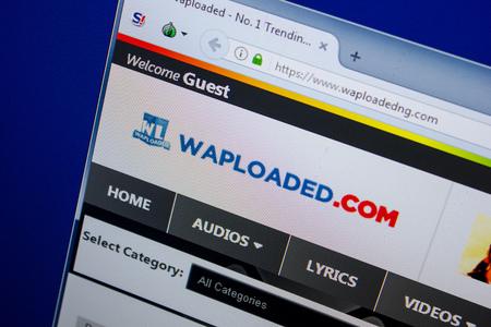 Ryazan, Russia - June 26, 2018: Homepage of Waploaded website on the display of PC. URL - Waploaded.com Editorial