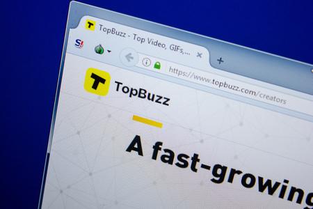 Ryazan, Russia - June 26, 2018: Homepage of TopBuzz website on the display of PC. URL - TopBuzz.com