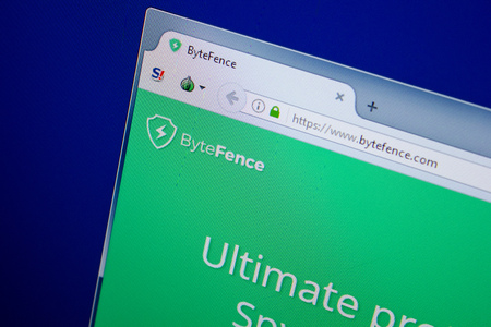 Ryazan, Russia - June 26, 2018: Homepage of ByteFence website on the display of PC. URL - ByteFence.com