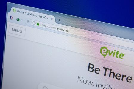 Ryazan, Russia - June 26, 2018: Homepage of Evite website on the display of PC. URL - Evite.com