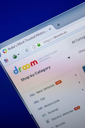 Ryazan, Russia - June 26, 2018: Homepage of Droom website on the display of PC. URL - Droom.in
