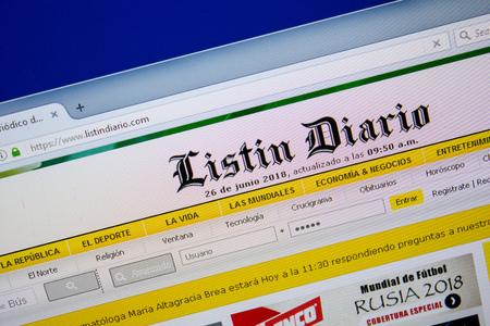 Ryazan, Russia - June 26, 2018: Homepage of Listindiario website on the display of PC. URL - Listindiario.com