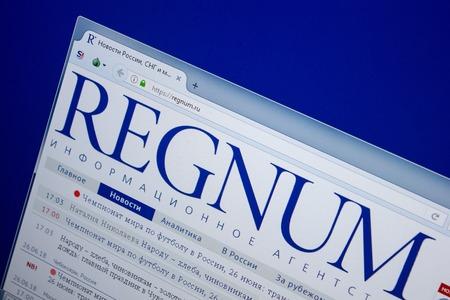 Ryazan, Russia - June 26, 2018: Homepage of RegNum website on the display of PC. URL - RegNum.ru Editorial