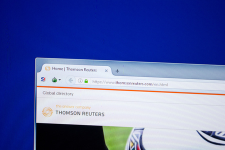 Ryazan, Russia - June 26, 2018: Homepage of ThomsonReuters website on the display of PC. URL - ThomsonReuters.com Editorial