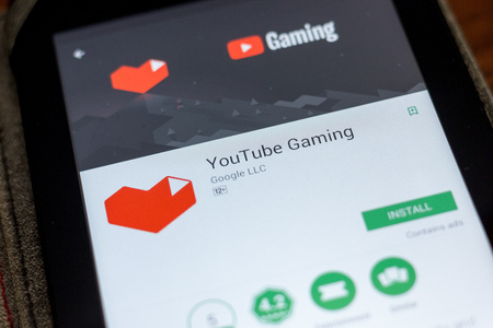 Ryazan, Russia - July 03, 2018: YouTube Gaming icon in the list of mobile apps