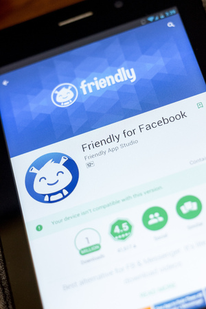 Ryazan, Russia - July 03, 2018: Friendly for Facebook icon in the list of mobile apps Editorial