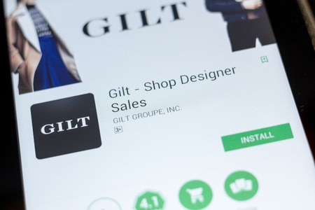 Ryazan, Russia - July 03, 2018: Gilt - Shop Designer Sales icon in the list of mobile apps