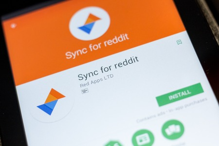 Ryazan, Russia - July 03, 2018: Sync for reddit icon in the list of mobile apps Editorial