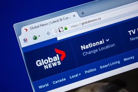 Ryazan, Russia - July 24, 2018: Homepage of GlobalNews website on the display of PC. Url - GlobalNews.ca