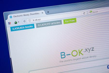 Ryazan, Russia - July 24, 2018: Homepage of b-ok website on the display of PC. Url - b-ok.xyz Editorial