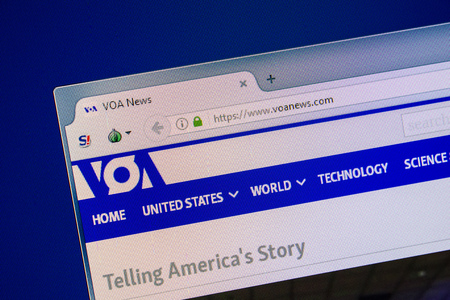 Ryazan, Russia - July 24, 2018: Homepage of VOAnews website on the display of PC. Url - VOAnews.com
